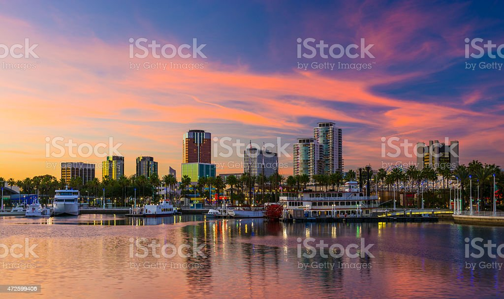 Long Beach skyline at sunset with a dramatic sky stock photo