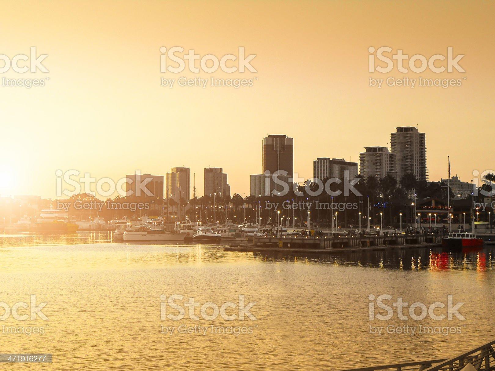 long beach skyline with harbor - california royalty-free stock photo