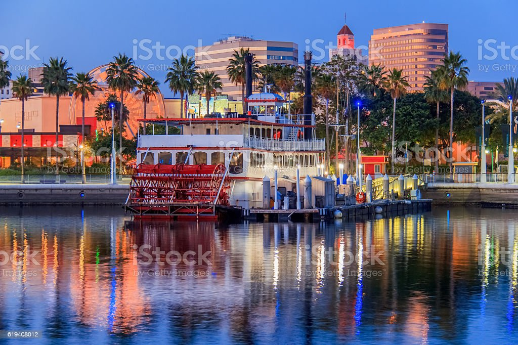 Long Beach's downtown waterfront at night, CA (P) stock photo