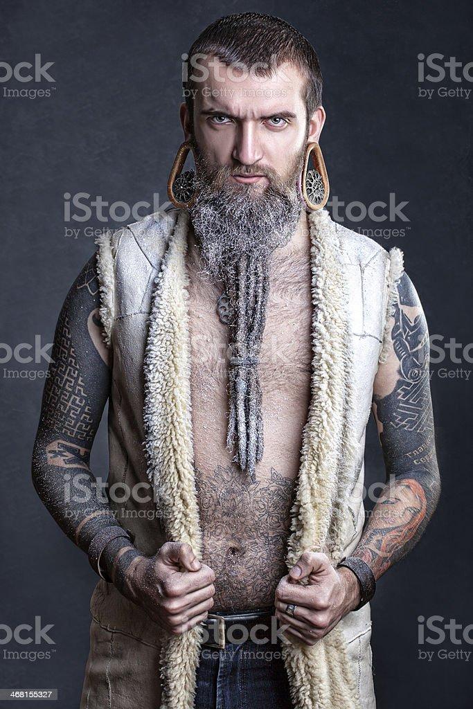 Long beard of a man. stock photo
