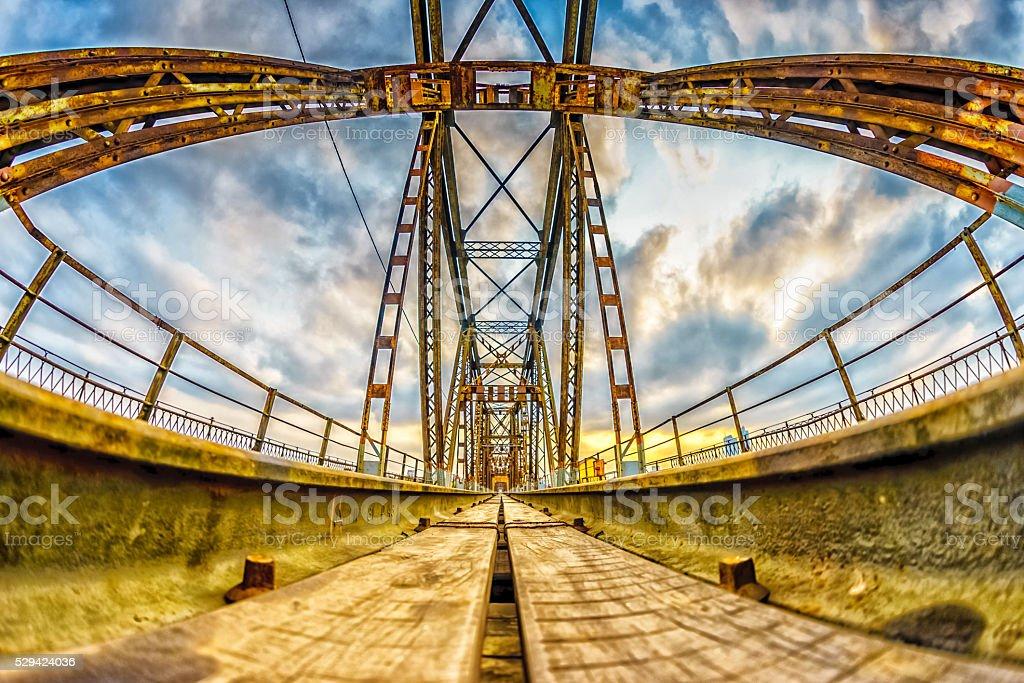 Long Bien Bridge, Hanoi, Vietnam stock photo