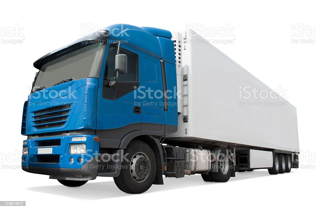 Long blue truck royalty-free stock photo