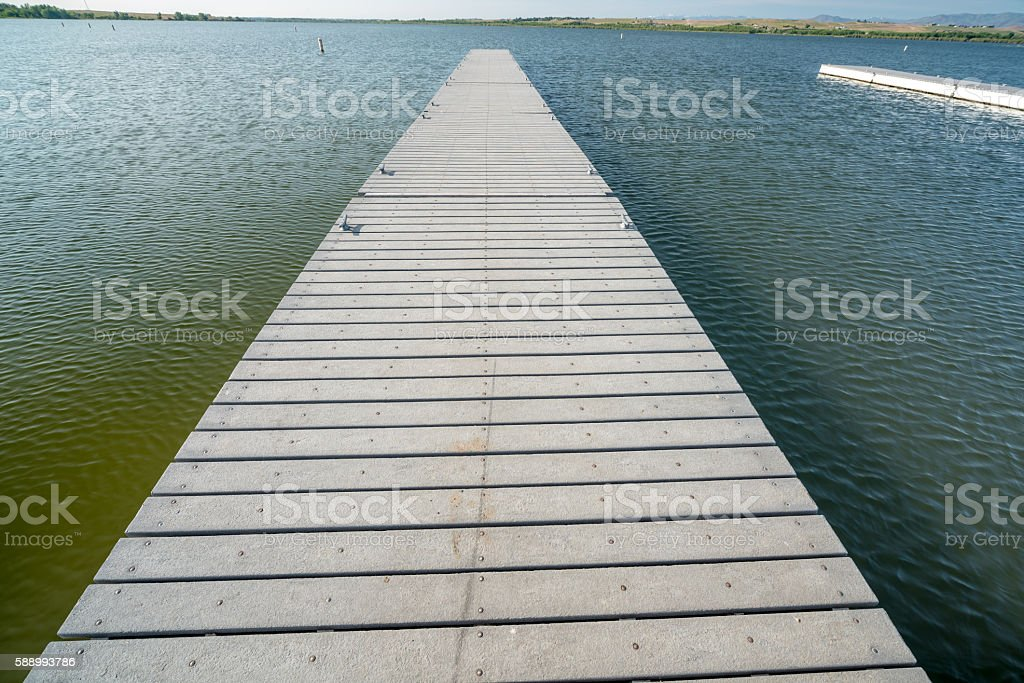 Long boar dock on Lake Lowell Idaho stock photo