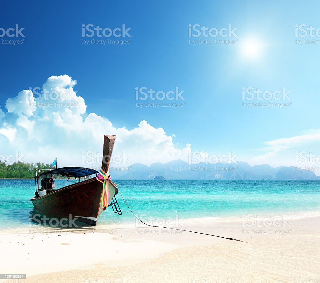 long boat and poda island in Thailand stock photo