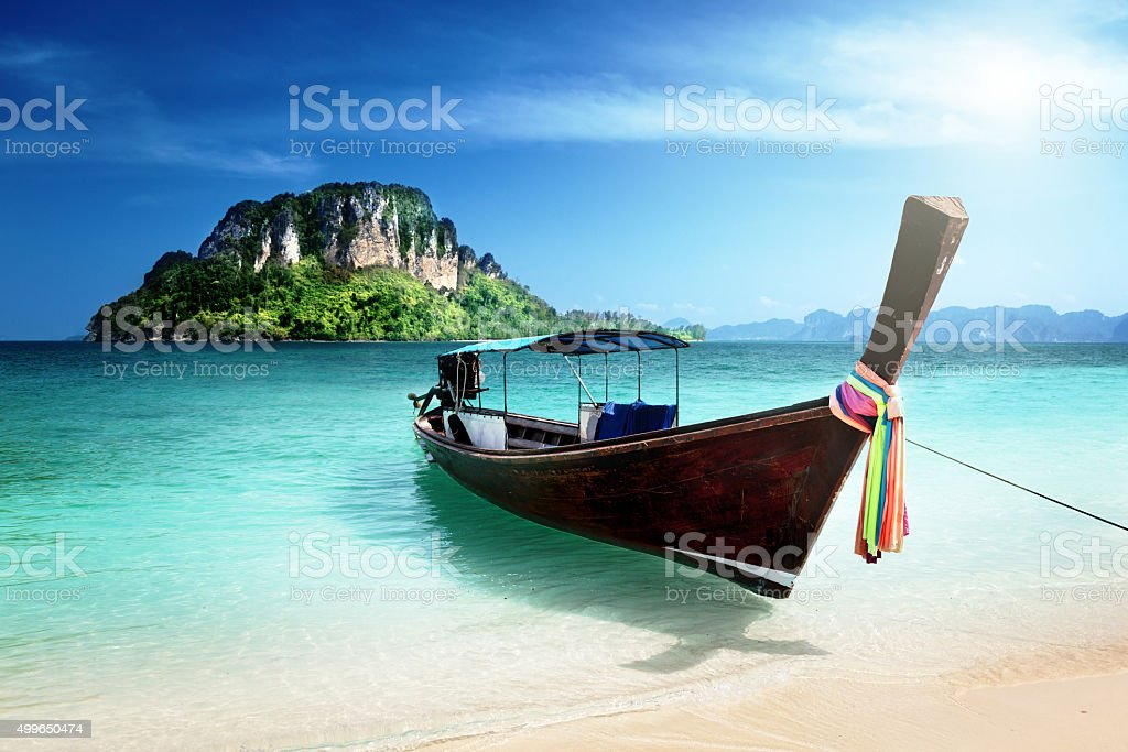 long boat and poda island, Thailand stock photo