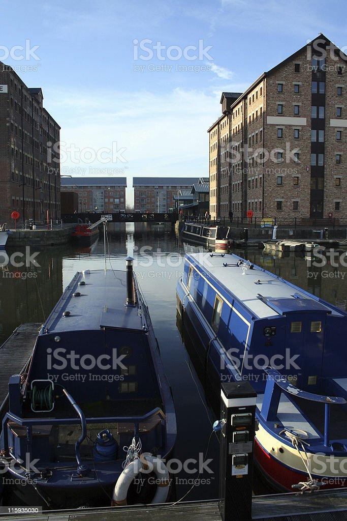 long boat docks stock photo