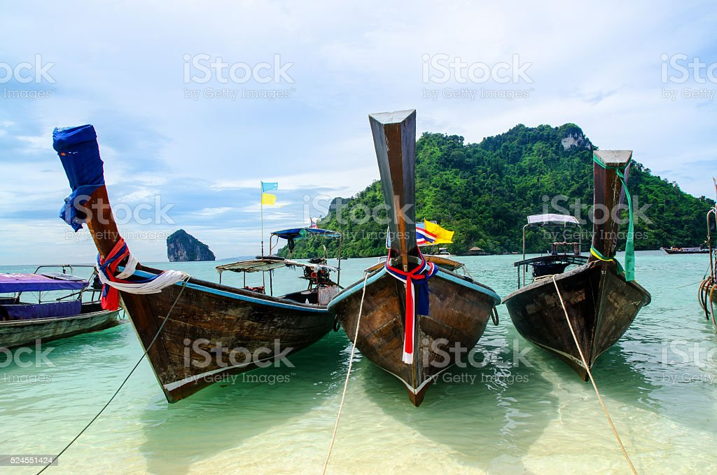 Long boat in Thailand stock photo