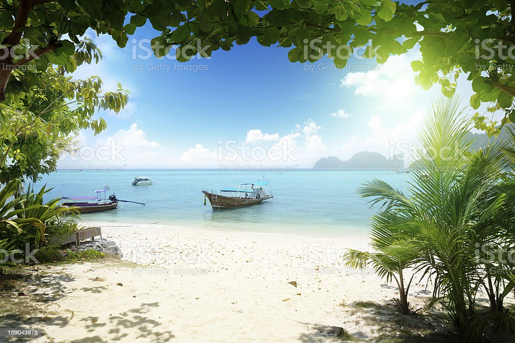 long boat on PhiPhi island in Thailand royalty-free stock photo