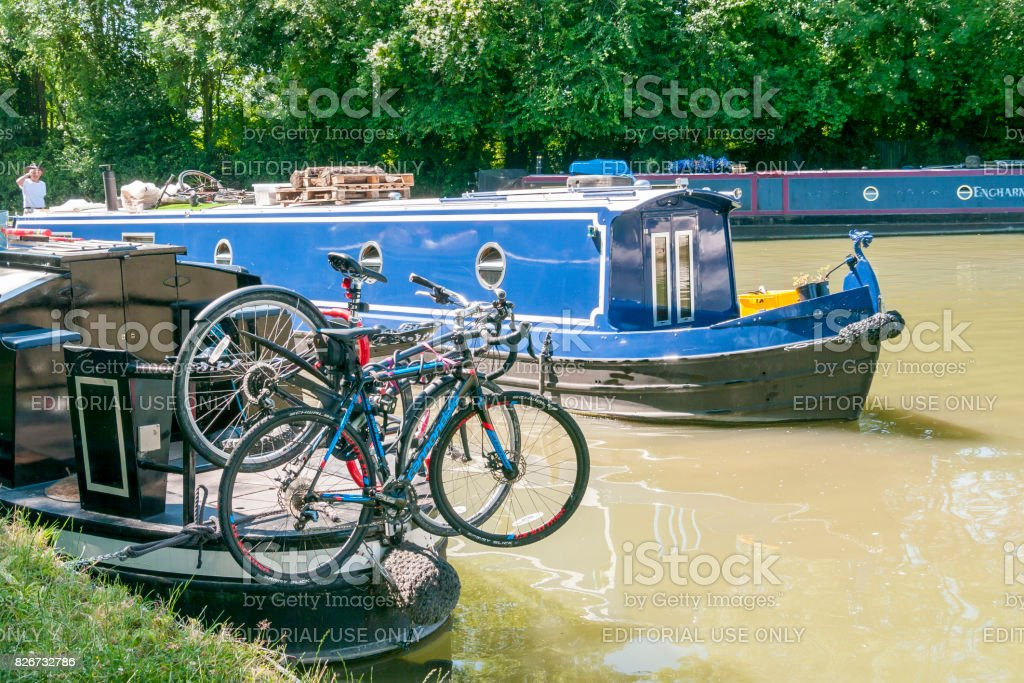 Long Boats at Marsworth canal stock photo