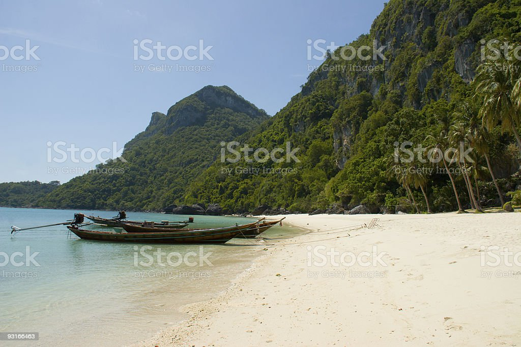 Long Boats on Beach in Angthong Thailand stock photo