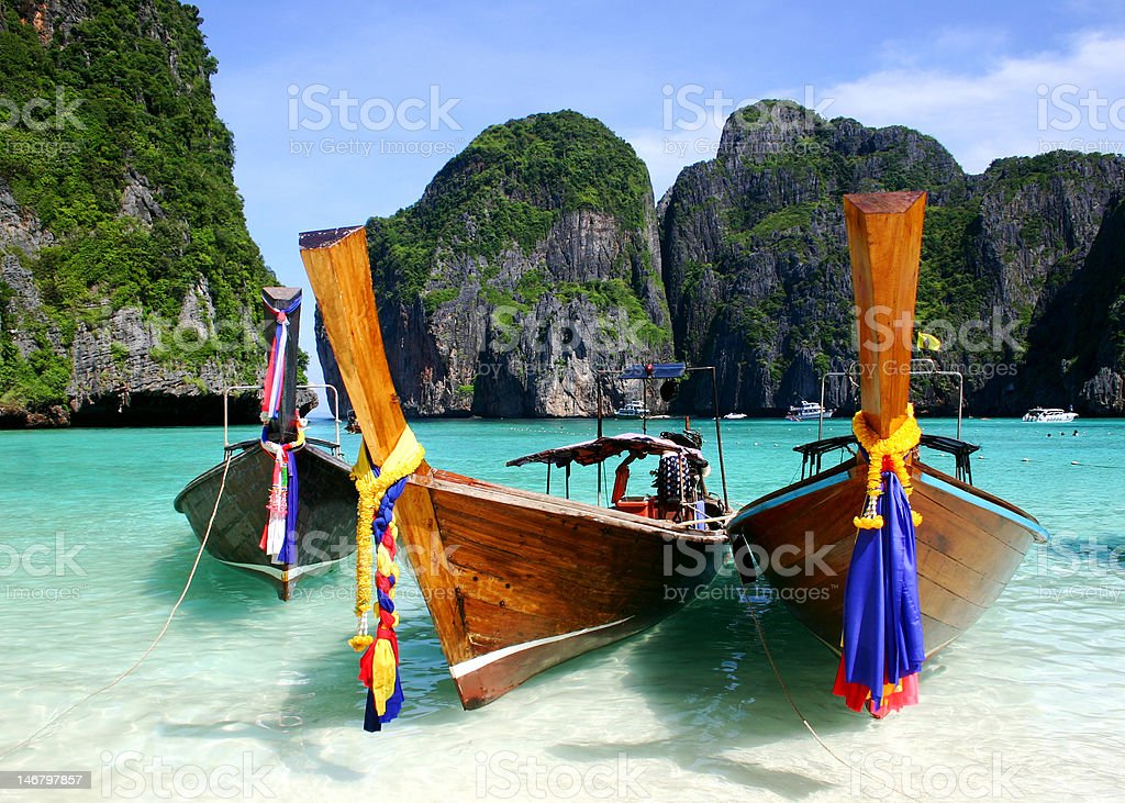 Long Boats, The Beach, Phuket, Thailand stock photo