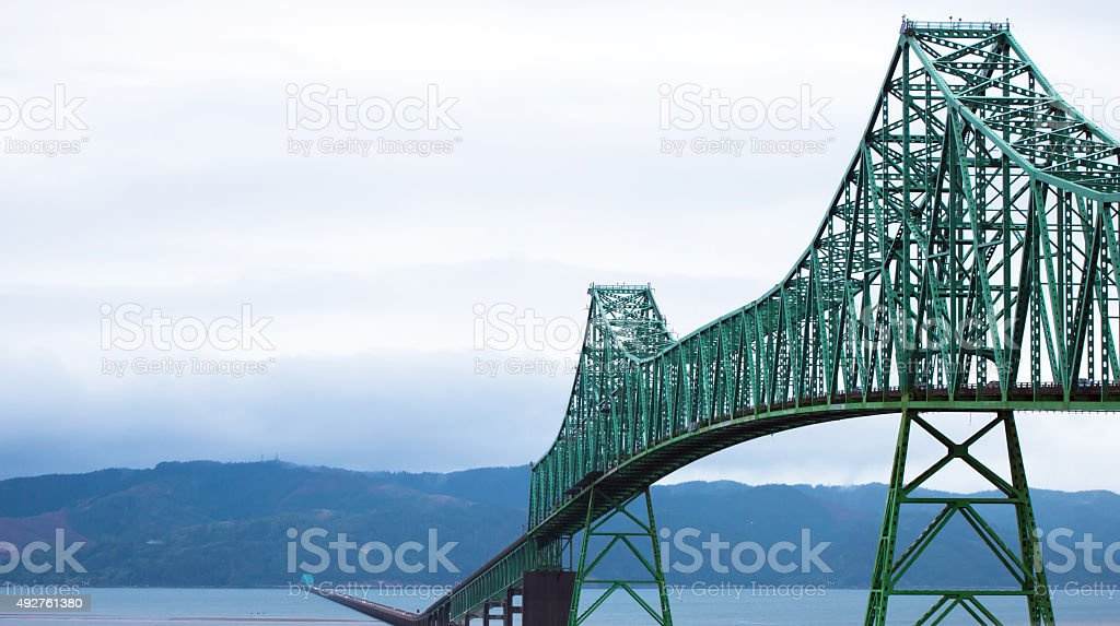 Long Bridge over wide mouth of Columbia River in Astoria stock photo
