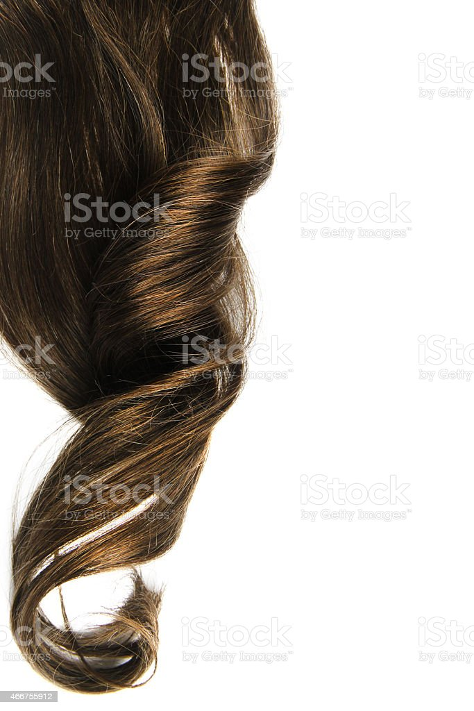 Long brown curl isolated stock photo