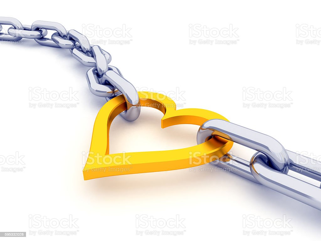 Long chain with heart link stock photo