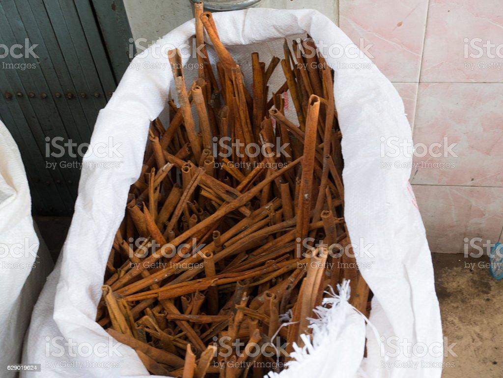 Long cinnamon stock photo