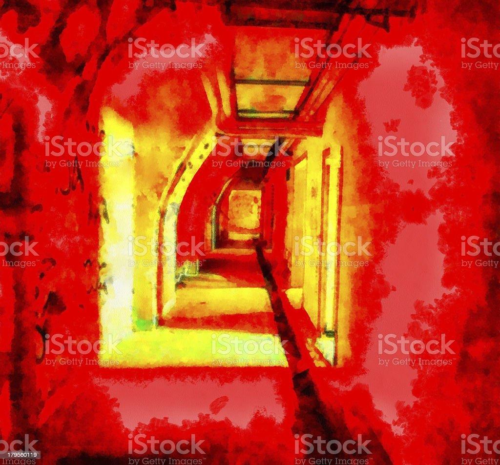Long corridor in building royalty-free stock photo