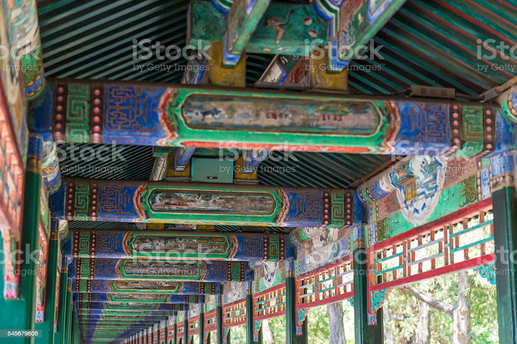 Long corridor in Summer Palace, Beijing stock photo