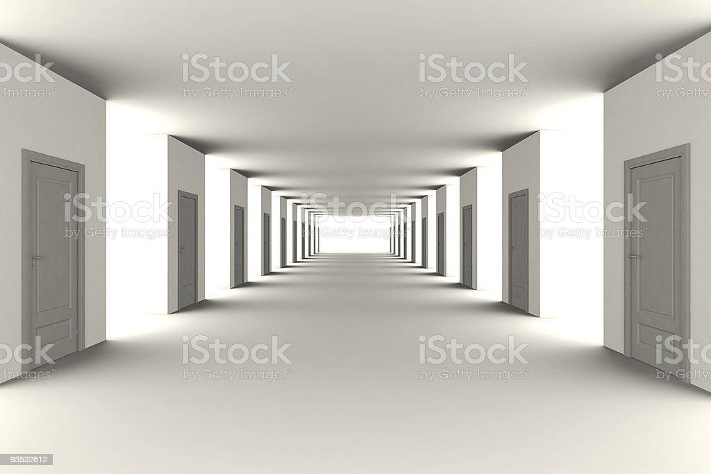 Long corridor - office style stock photo