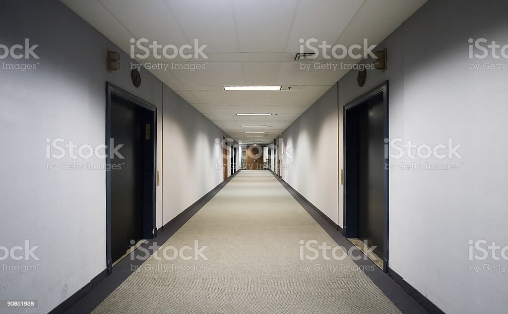 Long corridor or hallway with elevators royalty-free stock photo
