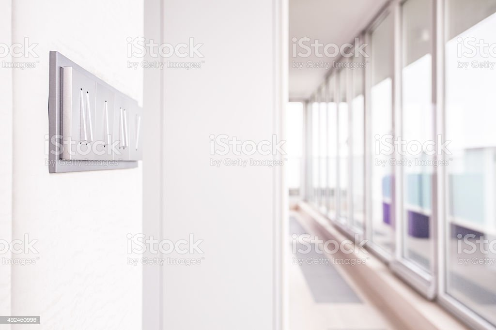 Long corridor with window wall stock photo
