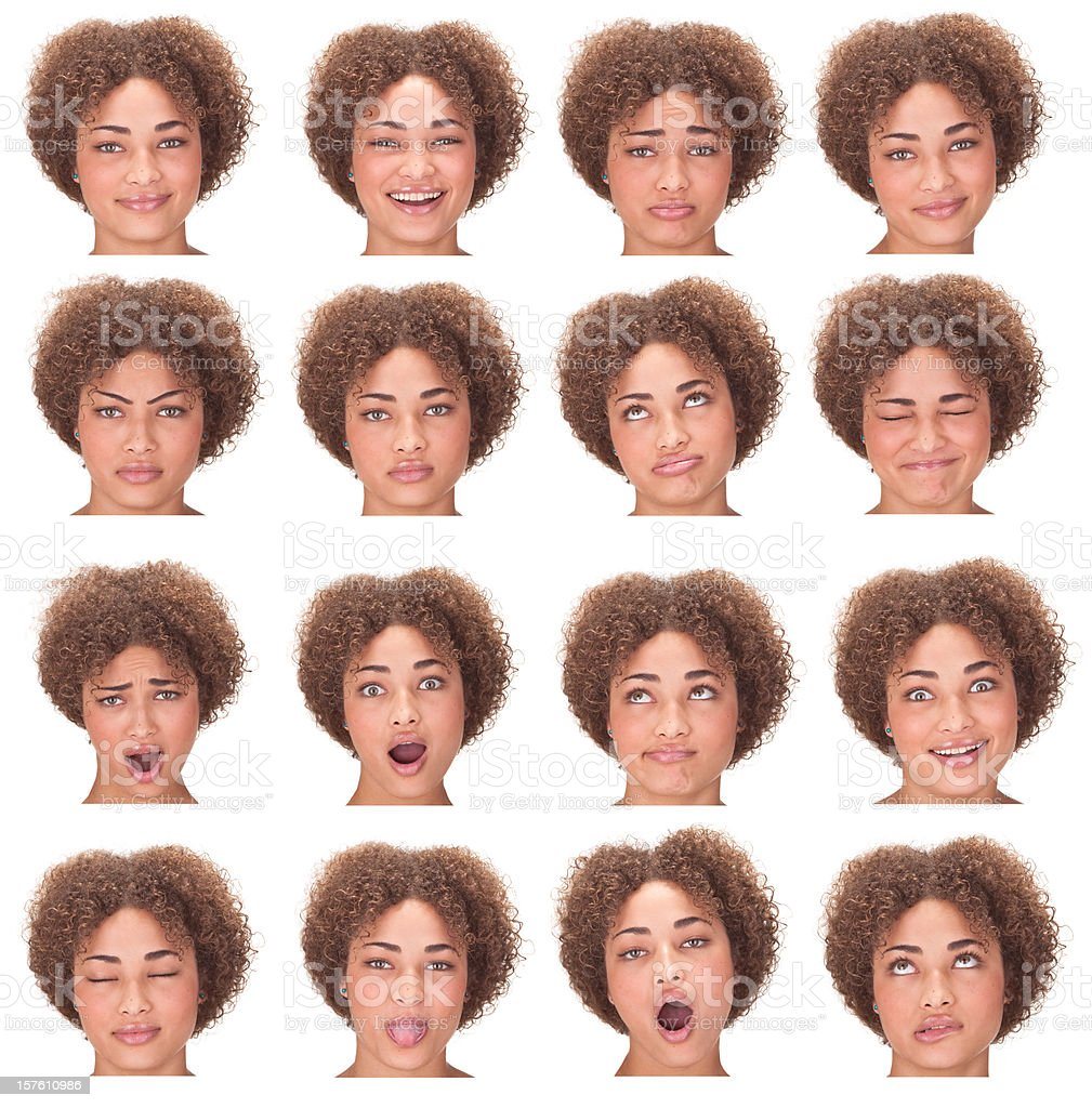 long curly hair african girl expression collection isolated on white royalty-free stock photo