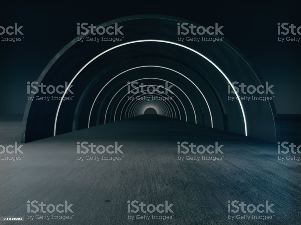 Long dark Tunnel  with futuristic light.3D rendering stock photo