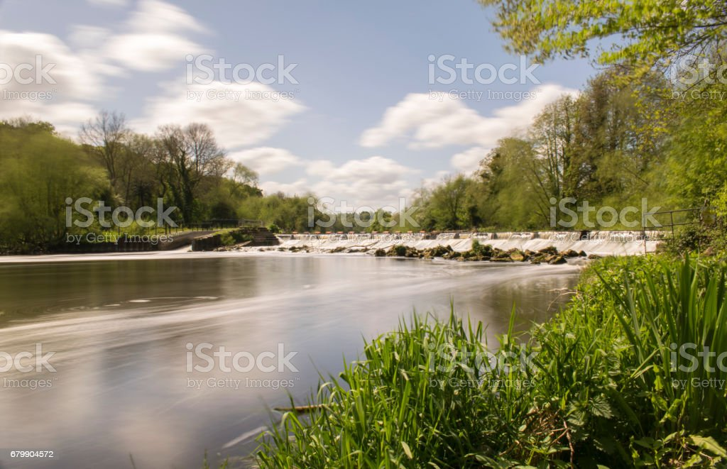 Long Daylight Exposure Photo Of Sprotbrough Weir stock photo