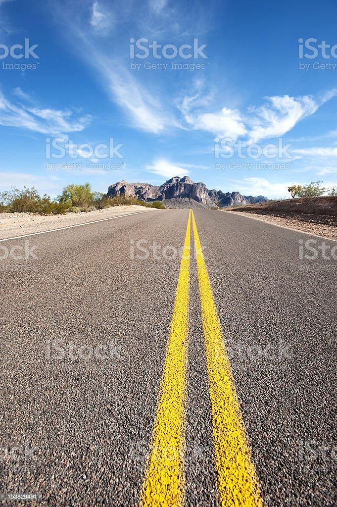 Long desert road royalty-free stock photo