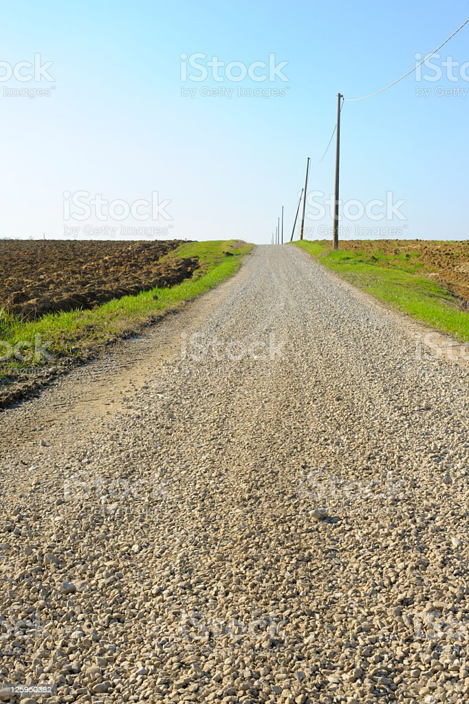 Long Dirt Road Vanishing into the Distance between Fields royalty-free stock photo