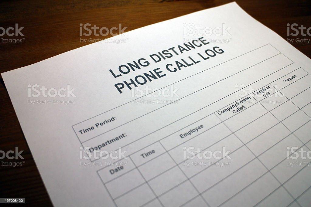 Long Distance Phone Call Log stock photo