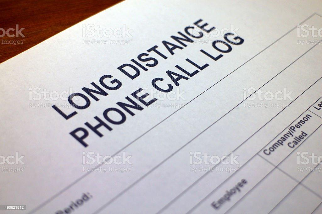 Long Distance Phone Call Log Template stock photo
