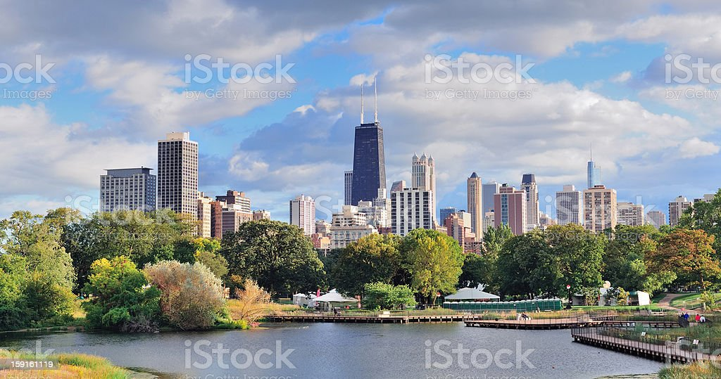 Long distance view of Chicago skyline stock photo