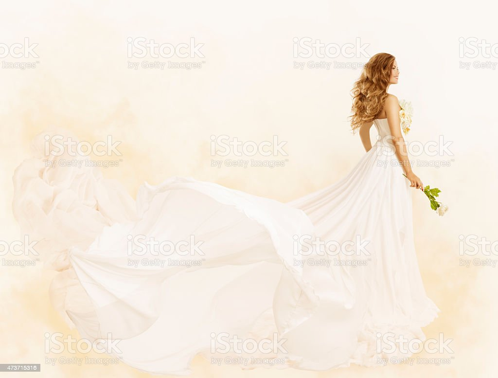 Long Dress, Woman Beauty Yellow Gown with Flower, Fashion Clothes stock photo