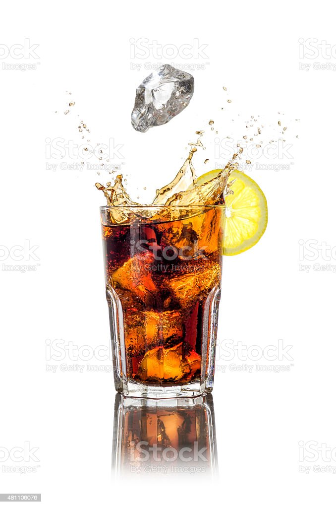 Long drink with ice cubes and splash stock photo
