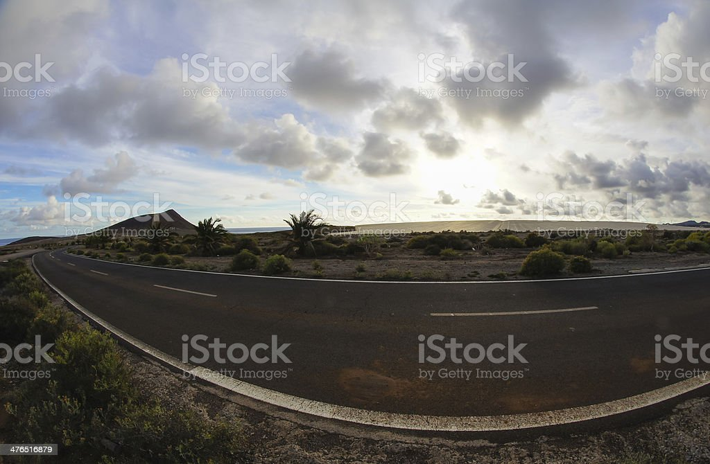 Long Empty Desert Road stock photo
