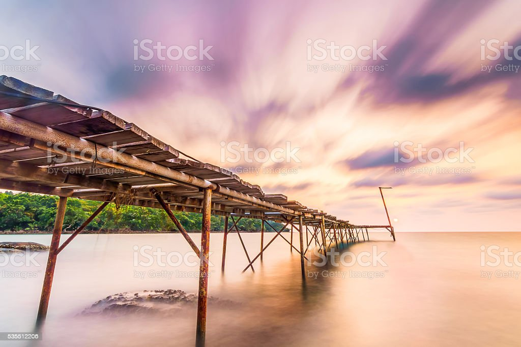 long explosure briged and smoothe clouds stock photo