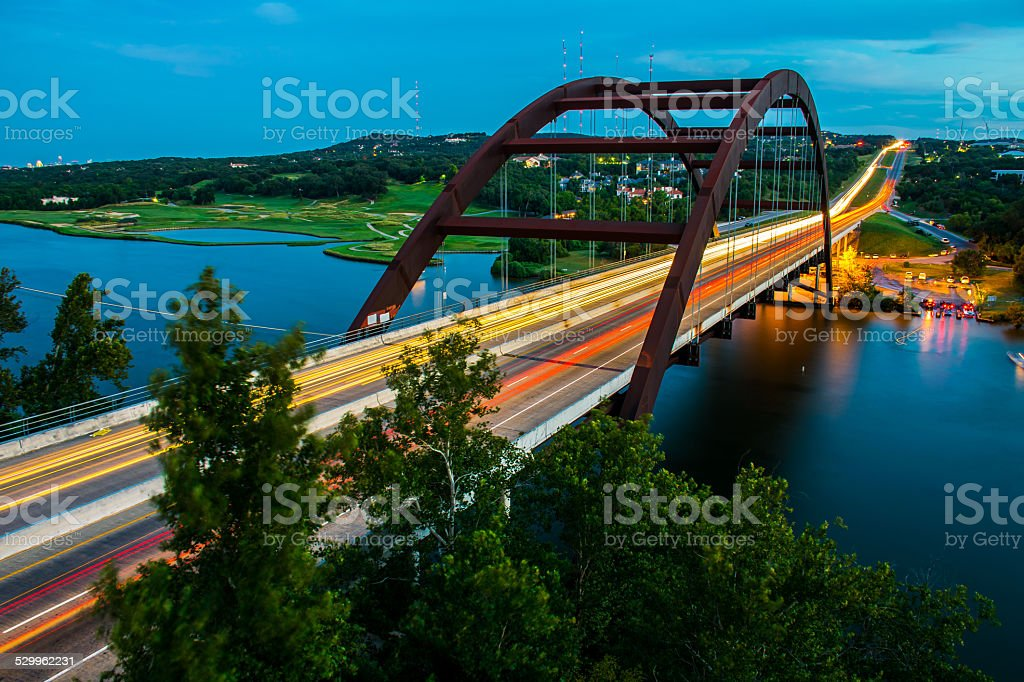 Long Exposure 360 Pennybacker Bridge in Austin , Texas stock photo