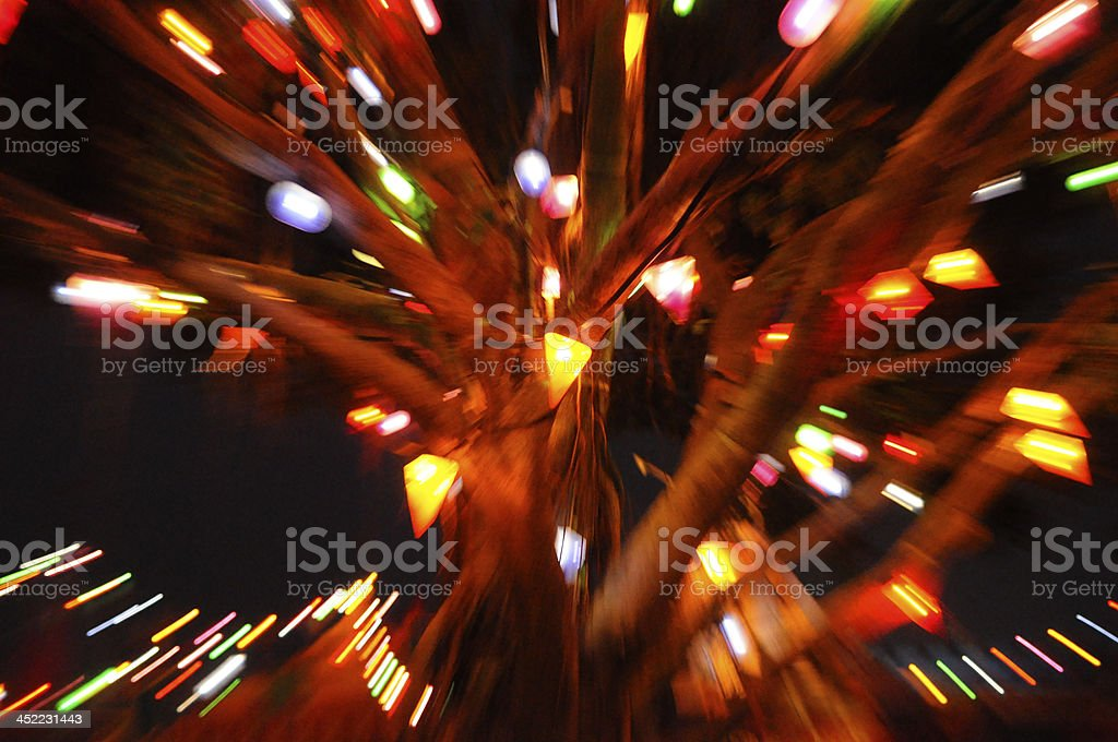 Long exposure and zoom effect to christmas tree royalty-free stock photo