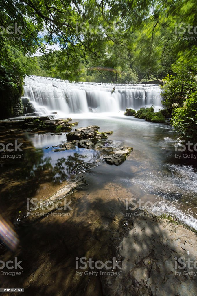 Long Exposure at Monsal Dale Weir stock photo