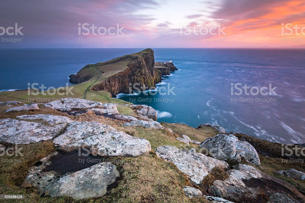 Long exposure at Neist point lighthouse, Isle of Skye, Scotland stock photo