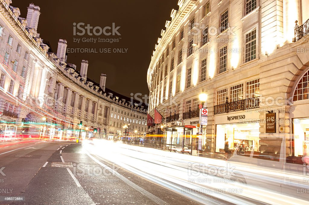 Long exposure at Regent Street, London stock photo