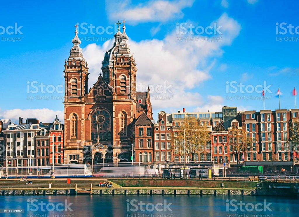 Long exposure Church of Saint Nicholas in Amsterdam, Netherlands stock photo