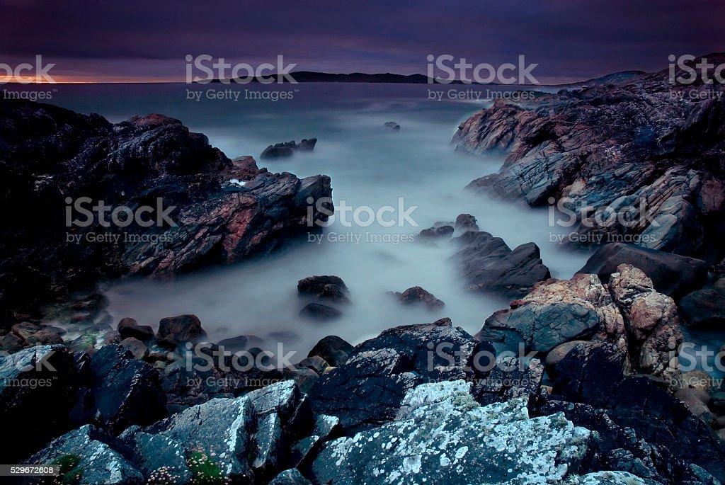 Long exposure image Isle of Harris stock photo