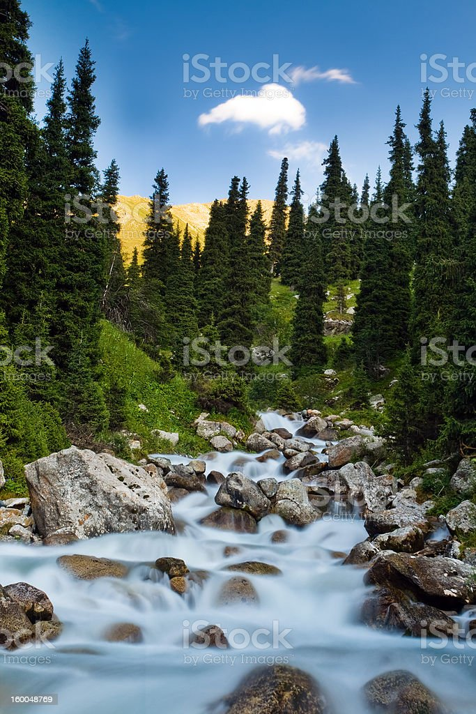 Long exposure image of mountain river royalty-free stock photo