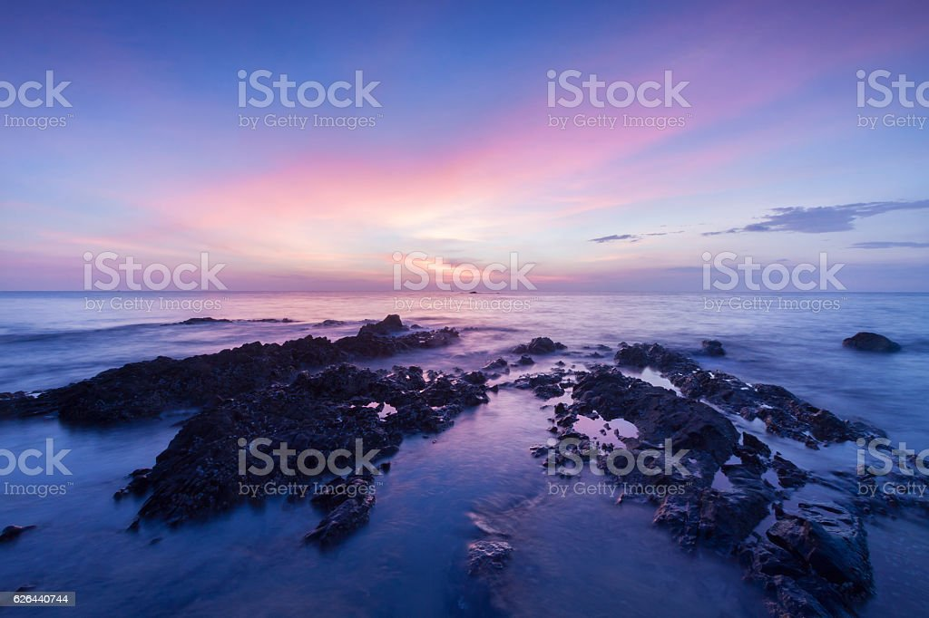 Long exposure landscape on the sea. stock photo