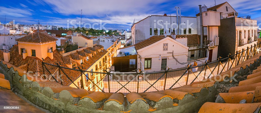 Long exposure - Madrid rooftops in the evening. stock photo