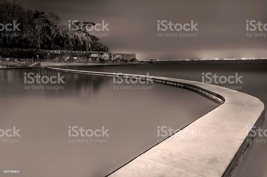 long exposure marine lake clevedon somerset black and white image stock photo