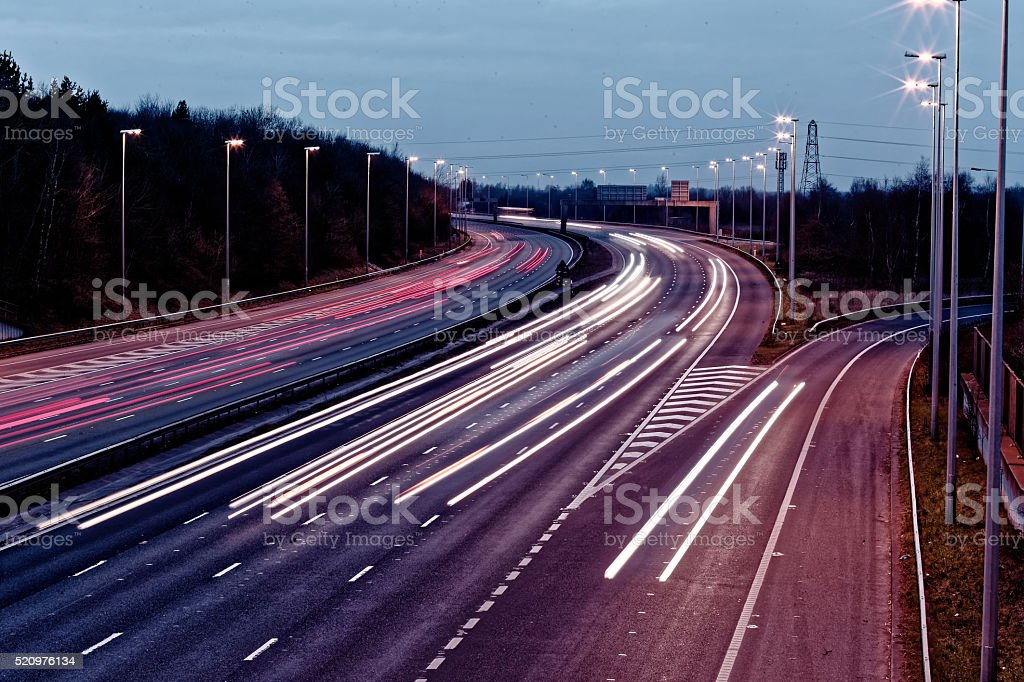long exposure - motorway - highway stock photo
