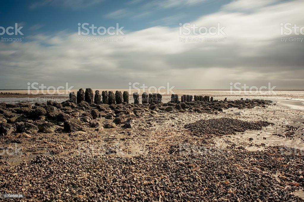 Long exposure mudflat stock photo