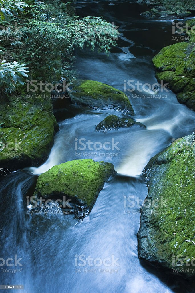 Long exposure night shot. Waterfall: Bushkill Falls stock photo